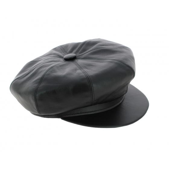 Black leather gavroche cap