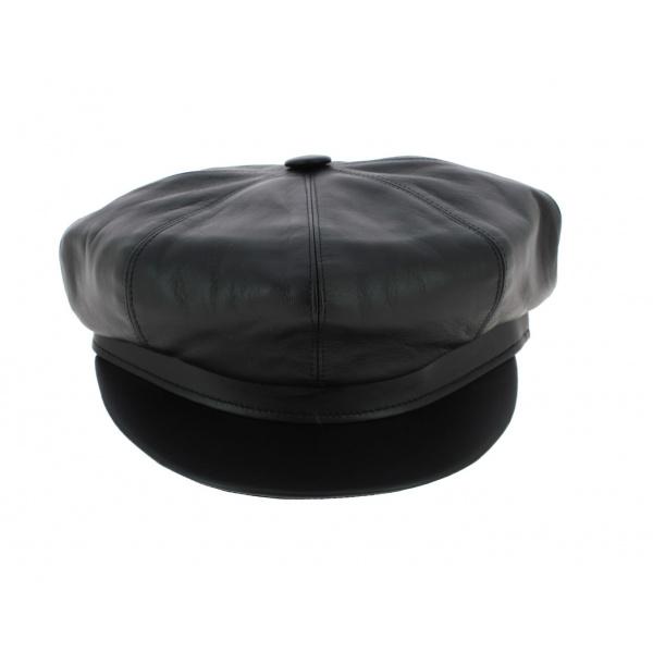 Casquette gavroche cuir noir