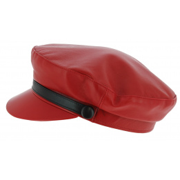 Casquette Marin Stewart Cuir Rouge - Traclet