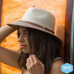Chapeau Traveller Paris Manish Style beige & Marron  - Rigon Headwear