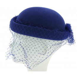 King blue veil hat J. GARNIER PARIS Made in France