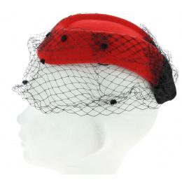 Hat E.VERLE PARIS red veil for elegance evening