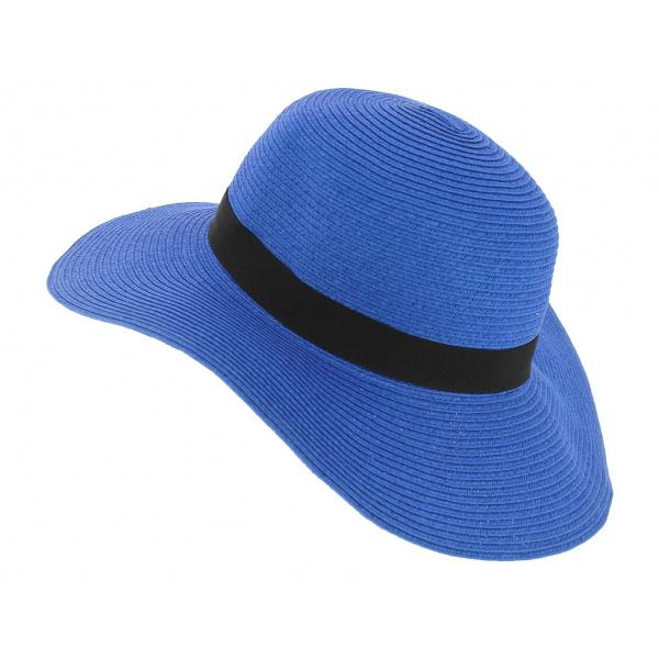 Chapeau Capeline Rhodes Paille Papier Bleu - Traclet