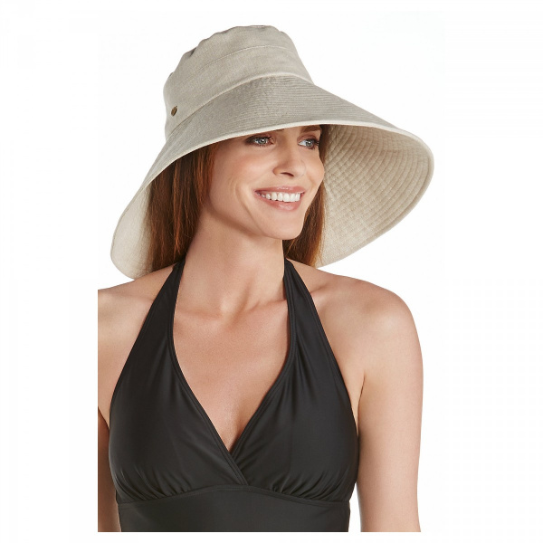 Capeline Larges Bords Beach Lin & Coton Beige - Coolibar
