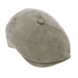 Halflight Suede Leather Grey / Beige Flat Cap - Traclet