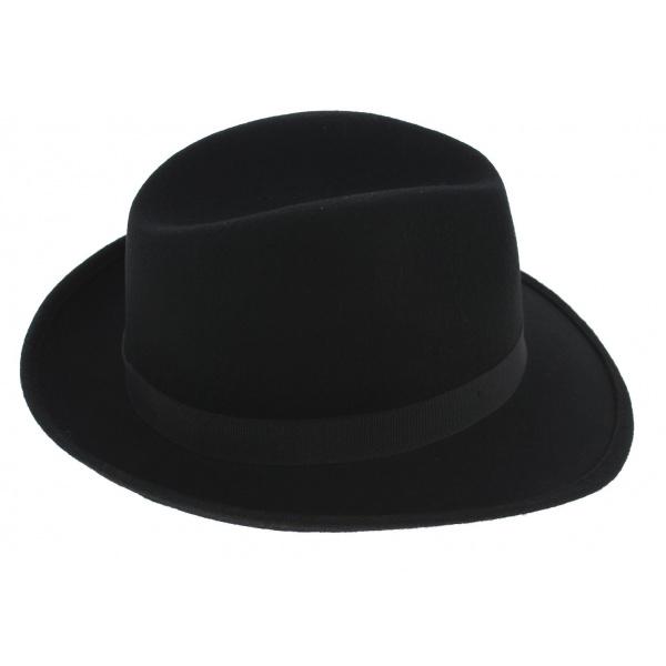 Fedora hat black wool felt