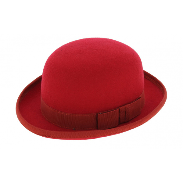 Bowler hat - Red Wool felt