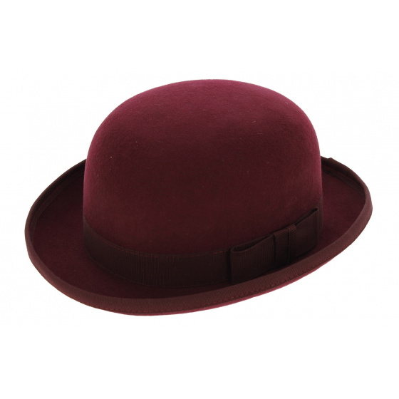 Bowler hat - Burgundy Wool felt