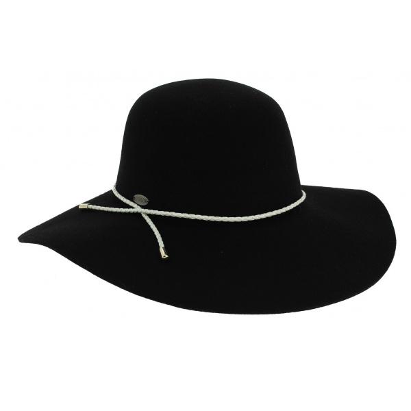 Capeline Lynette Feutre Laine Noir - Rigon Headwear