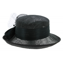Chapeau Cérémonie Style Banquière ISA Paille Noir - Traclet