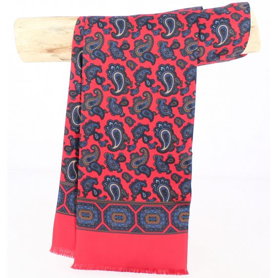 Foulard Rouge motifs bleu Soie - City Sport