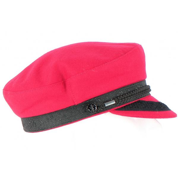 Casquette Marin Camaret Rouge Grenat en Laine-Traclet