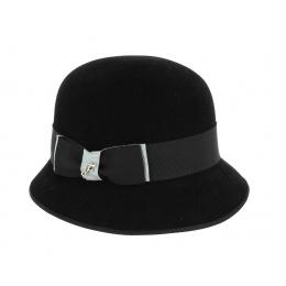 Chapeau Cloche Noir en Feutre Lapin-Fléchet