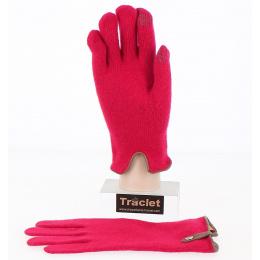 Gants Tactiles Séville Laine & Cachemire Rouge/Marron - Traclet