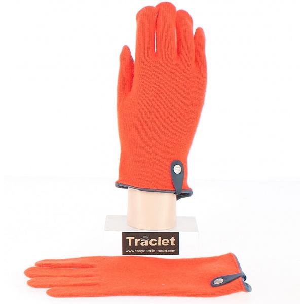 Gants Tactiles Séville Laine & Cachemire Orange/Marine- Traclet