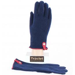 Gants Tactiles Séville Laine & Cachemire Marine/Rouge- Traclet