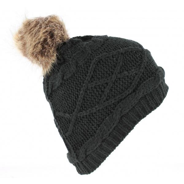 Bonnet A Pompon Victoria Noir - Traclet