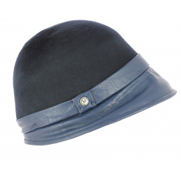 Chapeau Cloche Feutre Evelina Marine- Traclet