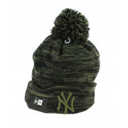 Marl Yankees Khaki and Black Pompom Cap - New Era
