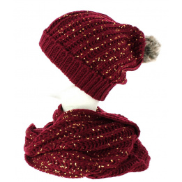 Bonnet snood pailleté bordeaux TRACLET