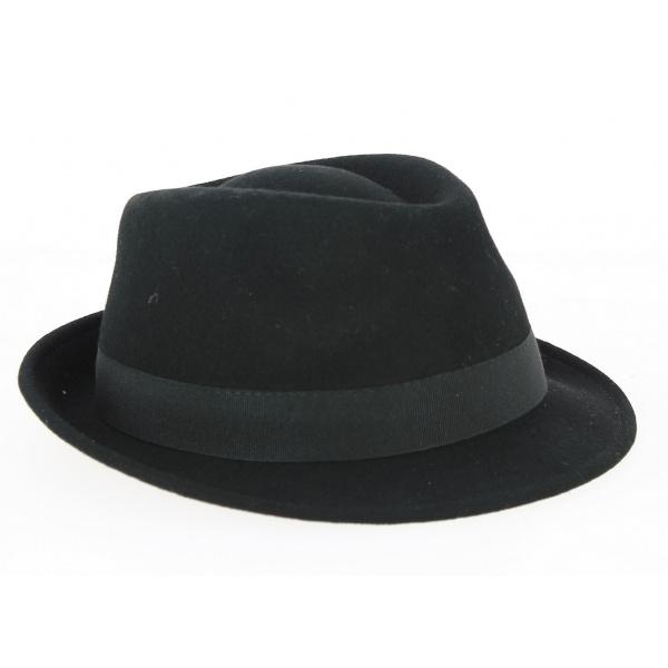 Chapeau Trilby Romans Feutre Laine Noir- Traclet