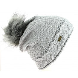 Bonnet Ramona Pompon Strass Gris - Traclet