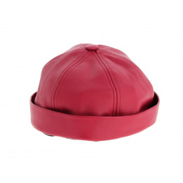 Bonnet Docker Biker Rouge en Cuir- Aussie Apparel
