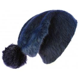 Bonnet Long Venice Angora Bleu Marine à Pompon- Traclet