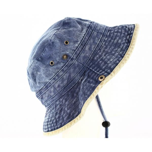 Bob Coton Broom Bicolore Bleu/Beige- Traclet