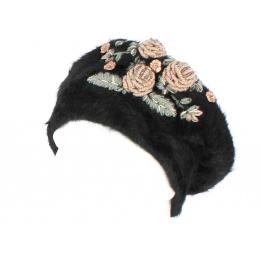 Béret Fiori Angora Noir avec Fleurs-Traclet