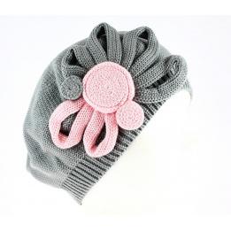 Béret Leïla Coton Fleur Gris & Rose- Traclet
