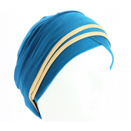 Turban chimiothérapie Nubie Turquoise/Or