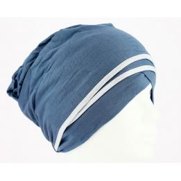 Turban chimiothérapie Nubie Bleu/Argent
