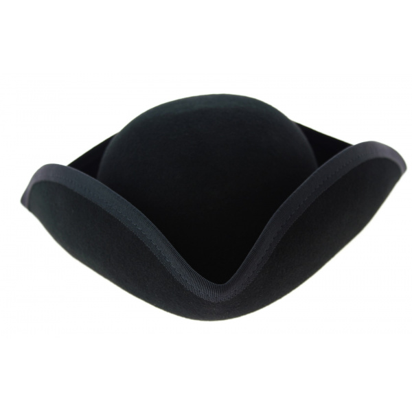 Small Black Wool Felt Tricorne - Traclet