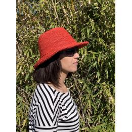 Chapeau breton Raphia Camélia Rouge - Traclet