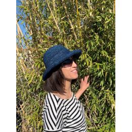 Chapeau breton Raphia Camélia Bleu - Traclet