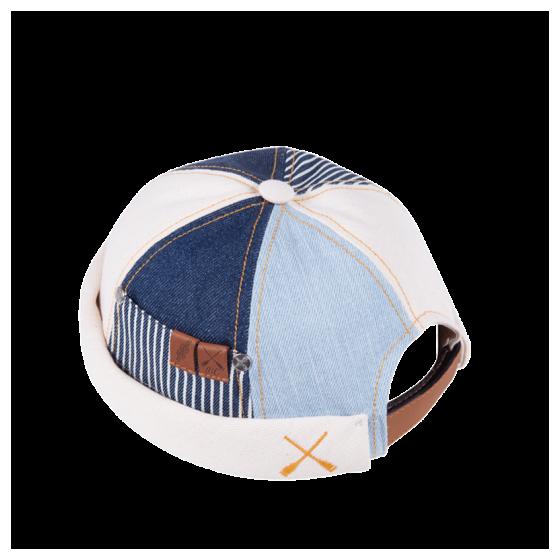 Miki Breton Patchwork Crème et Bleu Coton- Béton Ciré