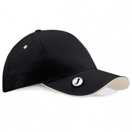 Golf Pro-Style Cap Black & White Cotton - Beechfield