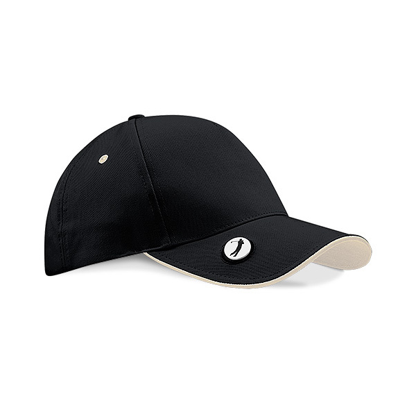 Golf Pro-Style Cap Black & White Cotton - Beechfield