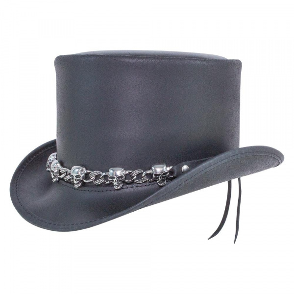 Chapeau Demi Haut de Forme El Dorado Cuir Noir - Head'N Home