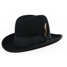Homburg Hats Wool Felt Black- Traclet