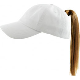 Casquette Baseball Femme Ponytail Blanche- Traclet