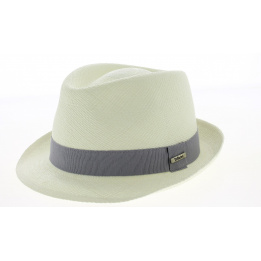 Chapeau Trilby Panama Quito Naturel Ruban Gris- Traclet