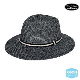 Chapeau Fedora Libby Fibres Naturelles Noir- Rigon Headwear
