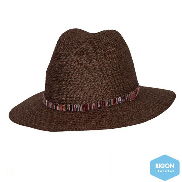 Chapeau Fedora Arizona Fibres Naturelles Chocolat- Rigon Headwear