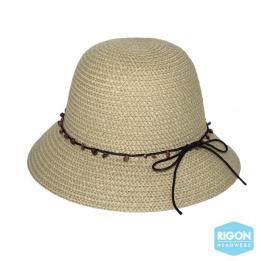 Chapeau Cloche Peta Fibres Naturelles Beige- Rigon Headwear