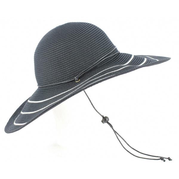 Capeline Freya Larges Bords Blanc/Noir - Rigon Headwear