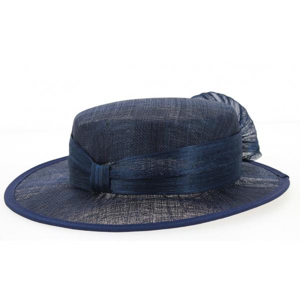 Chapeau de Cérémonie Sidonie Bleu Marine- Traclet