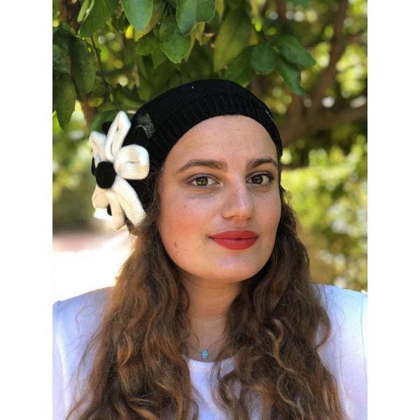 Béret Irma Coton Fleur Noir- BeBeret