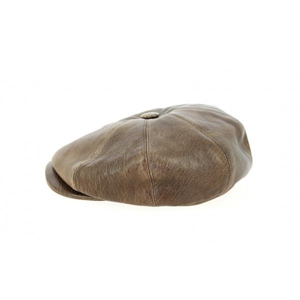 Casquette 8 Côtes Buffalo Cuir Vieilli Marron- Traclet